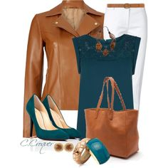 Caramel & Teal, created by ccroquer on Polyvore