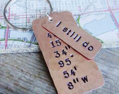 Latitude Longitude Keychain Hand Stamped GPS by PearlieGirl