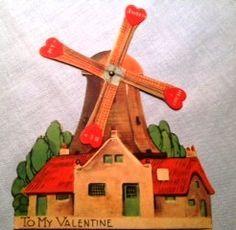 Vintage mechanical windmill Valentine