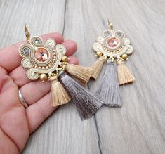 Boho Tassel Earrings, Beige Bridal Earrings, Soutache Earrings, Dangle Earrings with Crystals, Fringe Earrings, Wedding Earrings Boho Handmade earrings made in soutache technique , using beads, crystals , soutache braids , silk tassels, plated findings. Matching great to boho