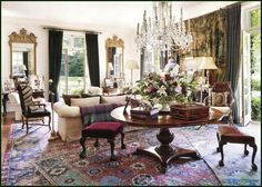 Ralph Lauren's lovely living room in Bedford, NY.