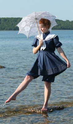 Navy Sailor Suit by Recollections. This is my bathing suit of choice! Victorian Era Dresses, Victorian Fashion, Vintage Fashion, Steampunk, Bathing Costumes, Navy Sailor, Gibson Girl, Vintage Swimsuits, Period Outfit