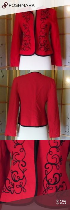 Red and black blazer In excellent condition. No tag but fits small. Adolfo Esprit Jackets & Coats Blazers