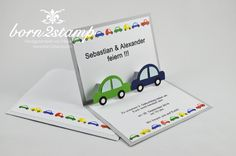 STAMPIN' UP! Einladungskarte Kindergeburtstag Invitation Birthday Party Auto Car Punch Art