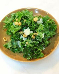 Lemon Kale and Parmesan Salad with Roasted Garlic and Chickpeas