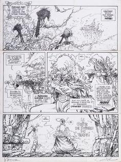 Régis Loisel (né en 1951), La Quête de l'oiseau du temps - La Conque de Ramor, encre de Chine sur papier, planche 1 de l'album publié en 1983, 51 x 38 cm. Frais compris : 50 000 €. Samedi 12 mars, Espace Tajan. Tajan SVV. M. Lafon.