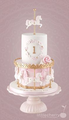Little Cherry Cake Company - Kids Cakes - Taylor - Torten İdeen Carousel Birthday Parties, Cute Birthday Cakes, Baby Girl Birthday Cake, Pretty Cakes, Beautiful Cakes, Carousel Cake, Baby Girl Cakes, Cherry Cake, Celebration Cakes