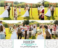 Cape Coral Yacht Club Ballroom   Cape Coral Wedding Photographer   Jamie Lee Photography   Rustic Outdoor Ceremony   Wooden Arch   Tan and Green Wedding