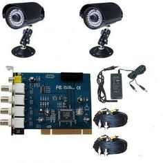 """GudCraft CCTV 2 Cameras DVR Video Surveillance Security System by GudCraft. $159.00. This is a very easy to use PC-based security system. All you need to do is to insert the DVR card in a free PCI slot of your computer. After you installing the drivers & software for the card and connecting the cameras with DVR card, you can run a full function video security system. Video Surveillance Security System has 2 pcs 1/4"""", 24 pcs LED Night View Waterproof """"SHARP"""" CCD..."""