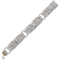 A fine Tiffany & Co Art Deco diamond bracelet  | From a unique collection of vintage tennis bracelets at https://www.1stdibs.com/jewelry/bracelets/tennis-bracelets/