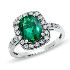 Lab-Created Cushion-Cut Emerald and White Sapphire Ring in 14K White Gold