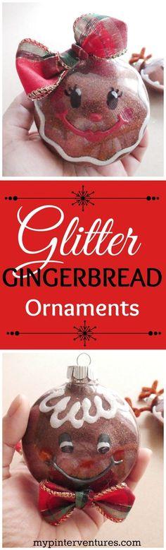 Clear Plastic Ornament Makeover - Glitter Gingerbread Ornaments