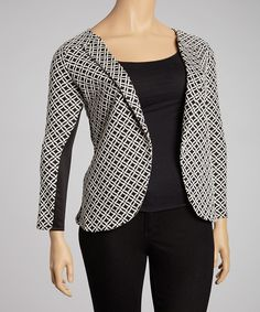 Take a look at this Tua Plus Black & White Geometric Jacket - Plus on zulily today!
