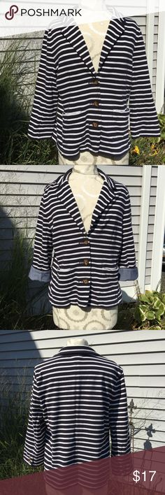 Lands' End Navy & White Striped Blazer Lands End Navy & White Striped Nautical Blazer. 3 button down front, 2 patch pockets and Chambray denim sleeve cuffs if worn folded over. Soft knit fabric in good condition. Lands' End Jackets & Coats Blazers
