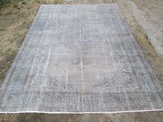 Grey Overdyed Rug Vintage Oushak Rug Turkish Gray Colour Rug 10.5 x 7 feet #Turkish