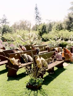 I wanted pews outside at my wedding so bad! The only argument my mother and I had! : )