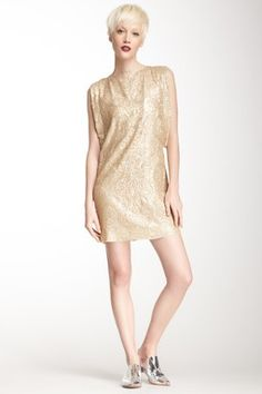 Sequin Sari Mini Silk Dress