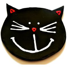 Black Cat Ceramic Plate Smily Face Pottery Dish Eco Friendly Spoon... ($22) ❤ liked on Polyvore featuring home, home decor, small item storage, ceramic box, cat dishes, colored paper plates, handmade pottery plates and paper box