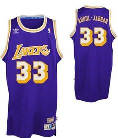 Los Angeles Lakers  33 Kareem Abdul-Jabbar Purple Swingman Throwback Jersey  Los Ángeles Lakers 1841461ed