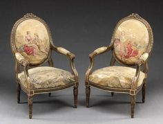 Very Fine Set of French 19th Century Louis XVI Style Giltwood and Aubusson…