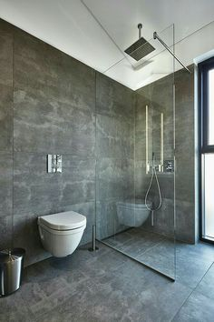 If you have a small bathroom in your home, don't be confuse to change to make it look larger. Not only small bathroom, but also the largest bathrooms have their problems and design flaws. Bathroom Glass Wall, Concrete Bathroom, Glass Bathroom, Bathroom Layout, Bathroom Ideas, Shower Ideas, 1950s Bathroom, Budget Bathroom, Shiplap Bathroom