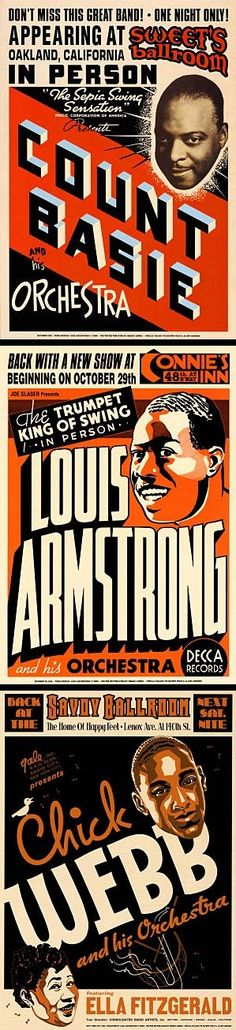 Classic Concert Posters: Count Basie, Louis Armstrong, Chick Webb Ella ...