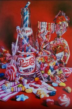 "Saatchi Art is pleased to offer the painting, ""Pepsi Candy,"" by kate brinkworth. Original Painting: Oil on Wood. Coke, Pepsi, Still Life Artists, Street Art, Candy Art, Realistic Paintings, Expressive Art, A Level Art, Gcse Art"