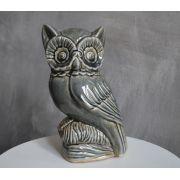 uilen beeldje grijs