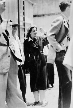Greta Garbo watches the B-19 bomber at MGM studios during the filming of Two-Faced Woman (1941)