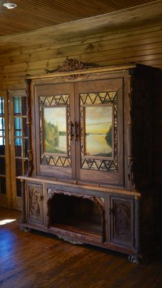 www.lpostrustics.com Grandest of them all Adirondack Rustic TV Cabinet.  Oil paintings and carvings by Joann and Jillian make this one pretty special.