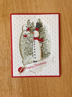 Handmade Christmas card kit - skinny snowman-md w/ mostly stampin up productItems similar to Stampin Up handmade Christmas card - winter cottage on EtsyThis is a very nice and high quality all occasion card. Christmas Cards To Make, Noel Christmas, Xmas Cards, Holiday Cards, Handmade Christmas, Greeting Cards, Card Kit, Card Tags, Inchies