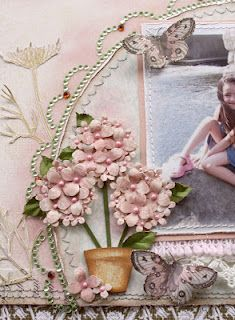 Hydrangea bloom tutorial using Websters Pages Everyday Poetry papers and Martha Stewart Punches