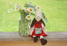Maggie Rabbit, Soup and Other Things Softies, Plushies, Sewing Kit, Getting Cozy, Crochet Toys, Bunny, Christmas Ornaments, Rabbits, Holiday Decor