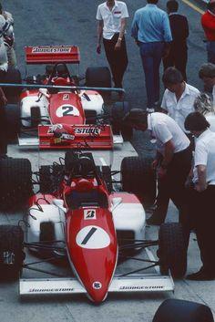 ( 1) Mike Thackwell and (2) John Nielsen - Ralt RB20 Cosworth DFV - Ralt Racing Ltd. - Probably XXXVII Gran Premio di Roma (Autodromo di Vallelunga) - 1985 FIA Formula 3000 European Championship, round 4