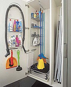 New Ikea Garage Storage Closet Organization Ideas Laundry Rack, Laundry Closet, Cleaning Closet, Laundry Storage, Closet Storage, Garage Storage, Kitchen Storage, Garage Closet, Ladder Storage