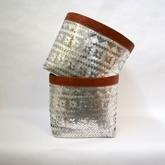 Woven Aluminum and Leather Basket by Yvonne Kneeland