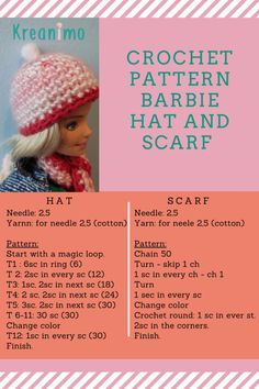 Barbie hat - crochet in round. - Kreanimo - - This is a free crochet pattern, crocheted in rounds of an easy Barbie hat. Step by step instructions. Crochet Barbie Patterns, Crochet Doll Dress, Barbie Clothes Patterns, Crochet Barbie Clothes, Doll Clothes Barbie, Doll Dress Patterns, Crochet Dresses, Cute Crochet, Crochet Hats