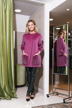 No 1 - пальто от итальянского люксового бренда Heresis модного ягодного  оттенка с меховыми карманами ( 19cffcc378f4a
