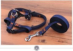 NEO Home No-Pull Dog Leash Harness, Adjustable Heavy Duty Denim Top Quality Leash Collar for Large/Medium/Small/Extra-Small Pet Perfect Lightweight Training