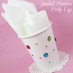 Very easy to do DIY idea to make Jeweled Princess Party Cups.