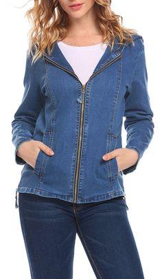 OD'lover Women's Long Sleeve Classic Trucker Hood Jean Denim Jacket Jackets For Women, Clothes For Women, Womens Clothing Stores, Women's Clothing, Vest Jacket, Denim Jeans, Womens Fashion, Classic