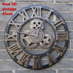 Large Decorative Vintage Industrial-Style 3D Wall Clock 2 Sizes