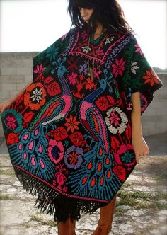 Hand Embroidered Peacocks Vintage Mexican Poncho