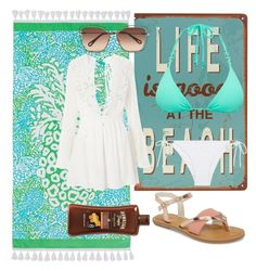 """""""Summer in grecce"""" by kbykiewicz on Polyvore featuring PBteen, Topshop, TOMS, Chloé, ViX, Heidi Klein, BeachPlease and vacayoutfit"""