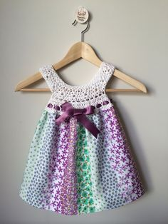Toastie Toots 'Summer garden' crochet dress,100% cotton fabric and bamboo crochet .