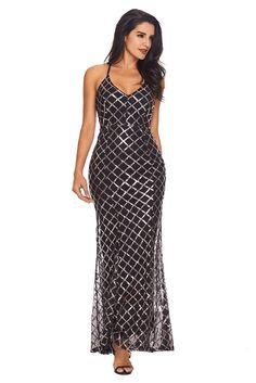 0b38cadbf268 Black Gold Sequins Crisscross Maxi Evening Dress Sexy Maxi Dress, Sexy  Dresses, Gown Dress