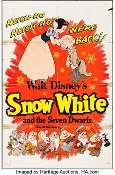 Movie Posters:Animation, Snow White and the Seven Dwarfs (Buena Vista, R-1958)....