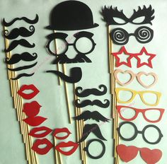 Photo Booth Props 29 DIY YOU GLUE Wedding Birthday Photo Booth Sticker Props Mustaches Lips Glass Bow Tie Hat Party Photo Props on Etsy, $25.75 AUD