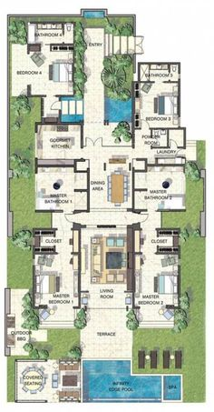 59 Ideas Kitchen Layout Ideas Floor Plans Master Suite For 2019 Sims House Plans, House Layout Plans, House Layouts, Luxury House Plans, Dream House Plans, Modern House Plans, Bedroom With Bath, Bedroom Bed, Master Bedroom