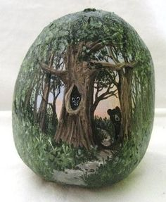 Painted forest on a stone. FABULOUS.  The artist should have his-her name on this for recognition of their fine artistry. :)
